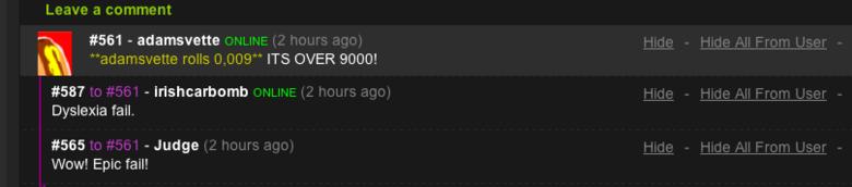 9000 fails.. roll q I liek the number q, its my favorite. over fail roll Adamsvette