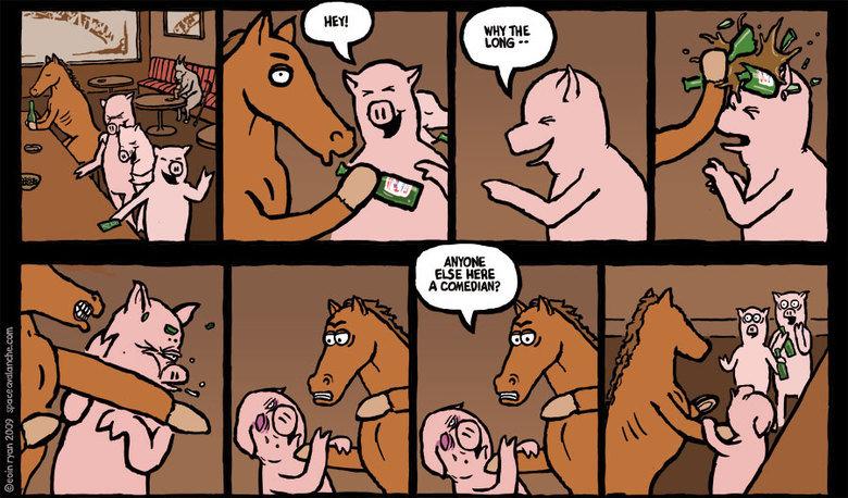 A horse walks into a bar. . A horse walks into a bar