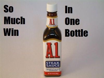 A1 Steak Sauce. I love steak sauce. SAUCE. MEATS BACK ON THE MENU BOYS a steak sauce win