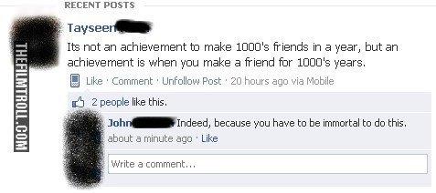 Achievement. via: . RECENT DEISTS Its not an achievement to make ) C) Cys friends in a year, but an achievement is when you make a friend liar ) C) Cys years, L Achievement via: RECENT DEISTS Its not an achievement to make ) C) Cys friends in a year but is when you friend liar years L
