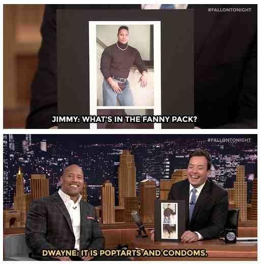 Alpha. . dwayne Rock fallon Jimmy fanny pack poptarts Condoms