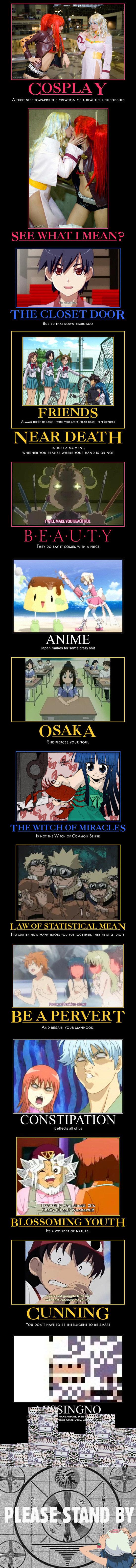 Anime Mot Posters 619. Found and Compiled, not Made 1,2 - Tengen Toppa Gurren Lagann 4 -Full Metal Panic 8 - Higurashi 9 - Naruto 10 - toLoveru 11 - Gintama 12  Anime mot posters