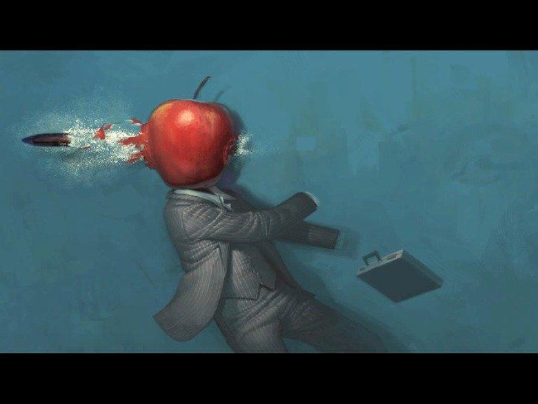apple shot. .. Cinnamon shot him! Apple Head background