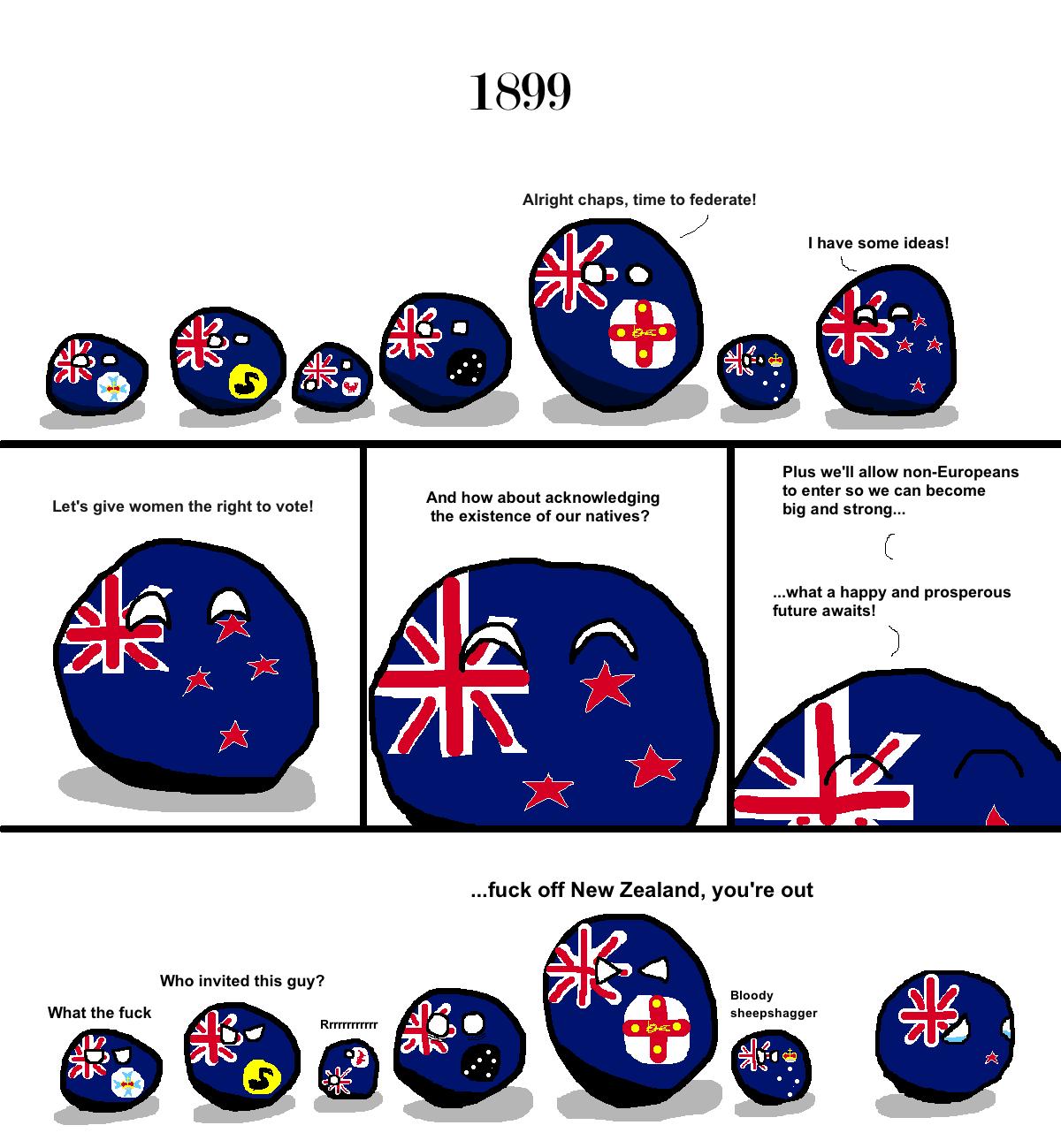 Australia. In this polandball comic you can see balls representing the Australian States and territories preparing to federate, They talk of they want. New Zeal australia New Zealand Polandball independence Nest aston villa Australian Open