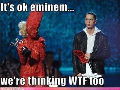Eminem. Eminem Thinking WTF !. It' s tait statement.... jack black needs to kill Doviculus again (brutal legend) funny Eminem thinking WTF meme pic Photo