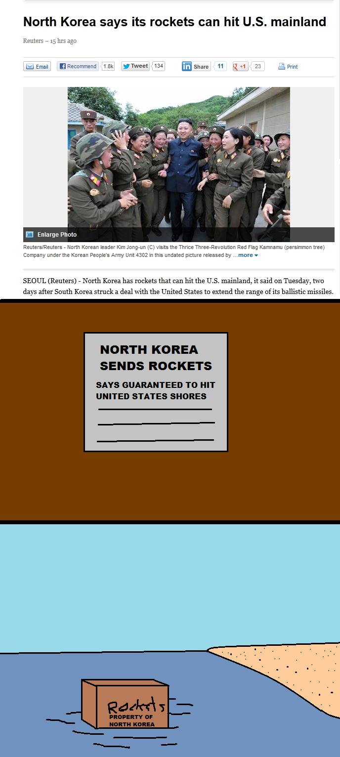 I'm Terrified. . North Korea says its rockets can hit U. S. mainland Reuters - 15 hrs ago 1. thweet 134 Broham 11 QM 23 truprint E Enlarge Pototo Reuters/ Reute I'm Terrified North Korea says its rockets can hit U S mainland Reuters - 15 hrs ago 1 thweet 134 Broham 11 QM 23 truprint E Enlarge Pototo Reuters/ Reute