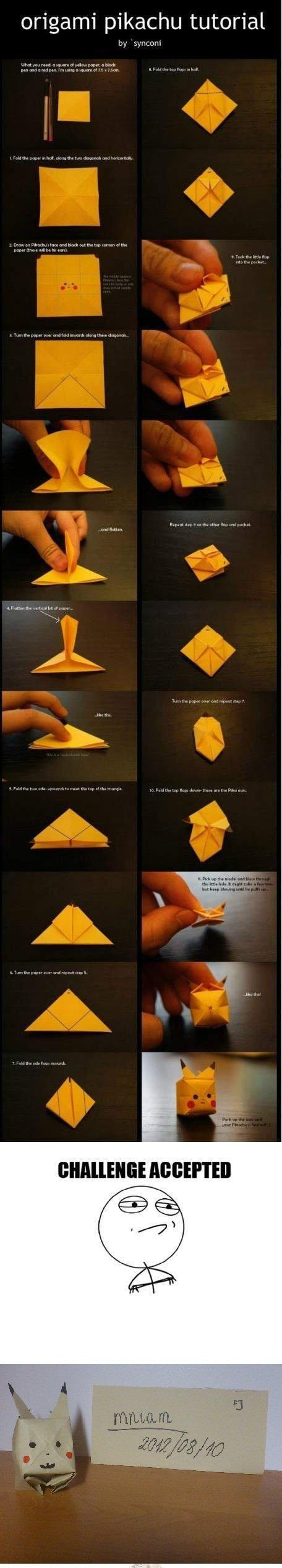 I tried.. OC as you see. origami pikachu tutorial. Close enough Origami