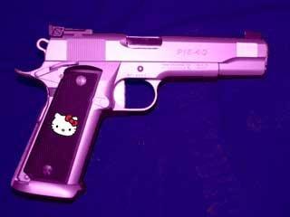 I'm Gonna Pop A Cap In Yo Ass!. .. hahaha pinkish girl gun hello kitty Guns