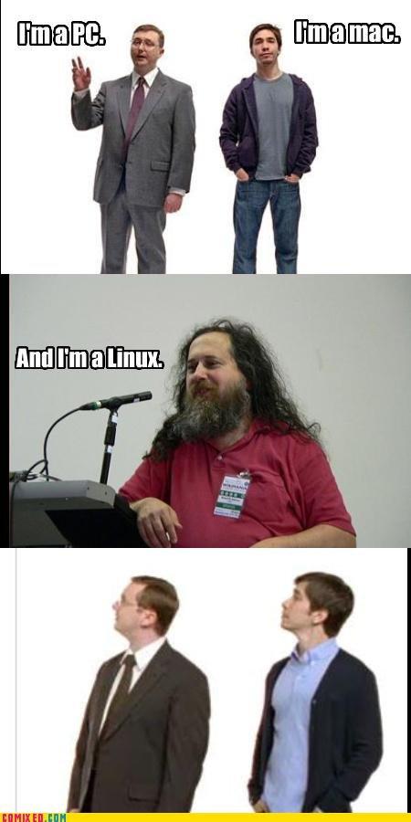 I'm a Pc, I'm a Mac. Sounds about right. linux Pc Mac WTF epic beard wierdo