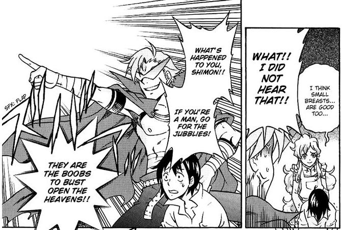If you're a man.... Manga:Tengen Toppa Gurren Lagann: Yoko no Obeso-hen. screencap manga lol