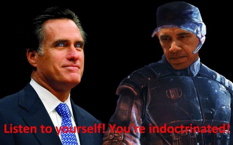 Illusive Mitt vs Admiral Obama. .. cough cough mitt romney barrack obama mass effect admiral anderson Illusive man indoctrination