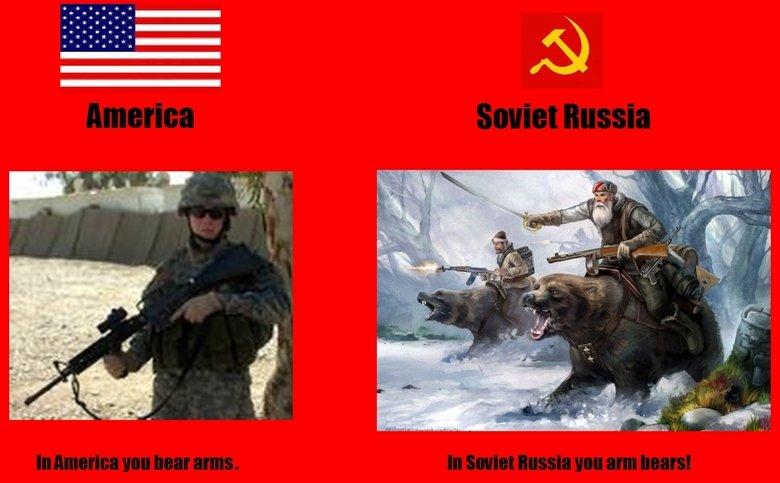In Soviet Russia. . i Ir I I i Ir I I. I Lol'd funny soviet america russia Guns lol USSR Russian Bears Bear american
