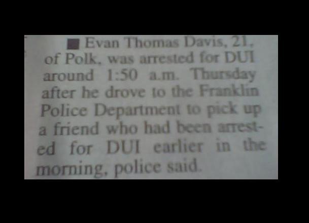Irony strikes again. . dui arrest police irony