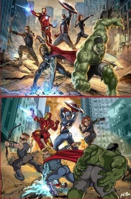 Male superheroes posing like female ones. Just weird. Male superheroes posing like female ones Just weird