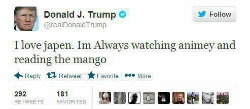 "MANGO. . Donald J. Trump . Follow I love japan. Always watching and reading H Reply Retweet Favorite i"" More. Mango Unchained. ...I'm so sorry. i like ze mango"