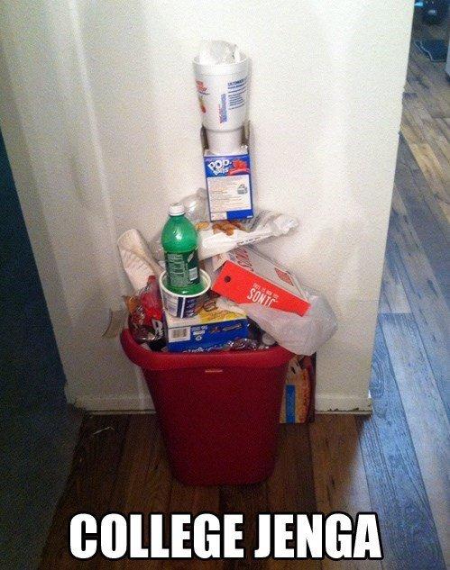 Maybe I should empty the bin? lolno.. .. Fake, no Ramen in trash, not college. Maybe I should empty the bin? lolno Fake no Ramen in trash not college