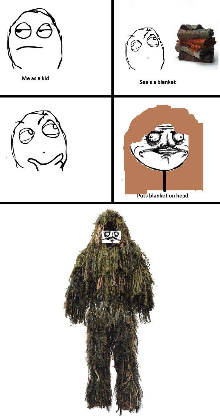 Me as a Kid. I still do this.. Me as a kid See' blanket u s blanket on head. swamp thing me as a Kid