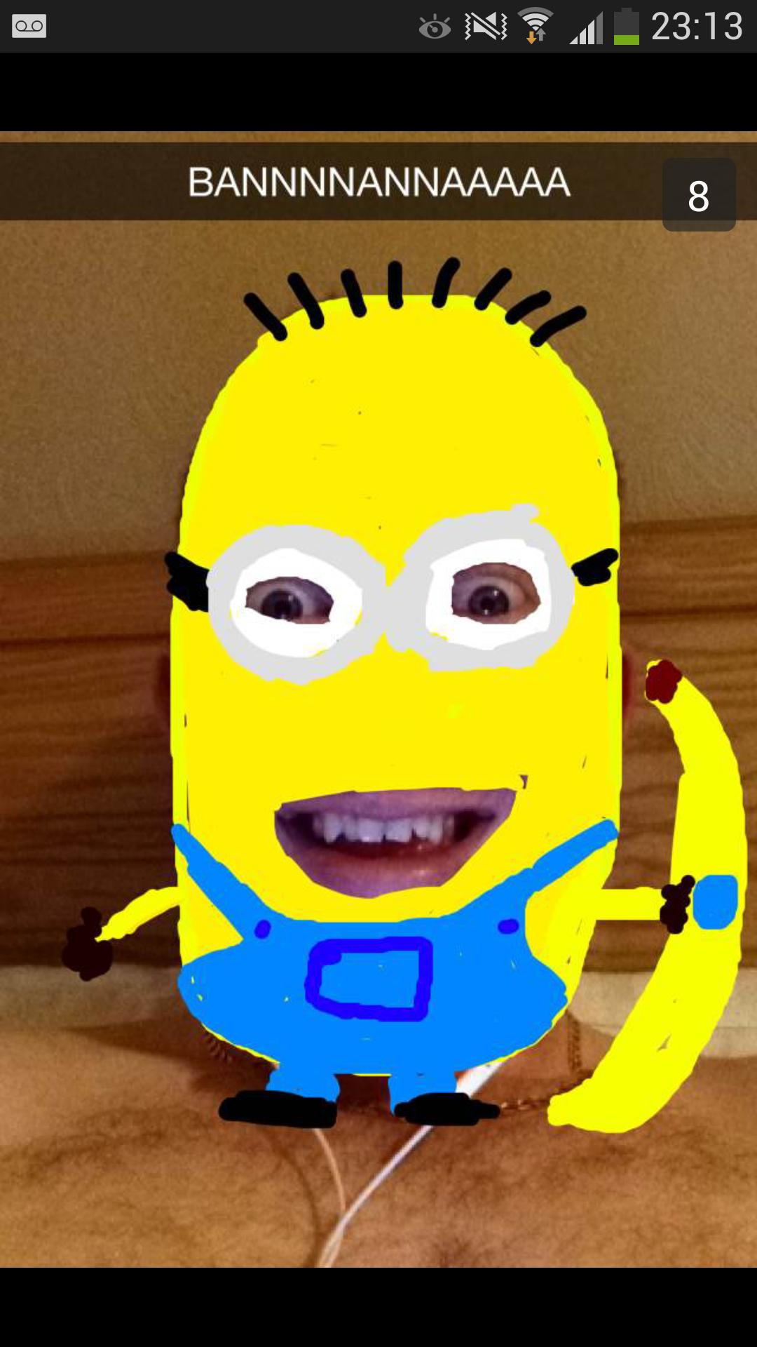 Minion snap chat. Thumb for more amazing snapchats.. Creepy as Hell.... minion Banana snapchat