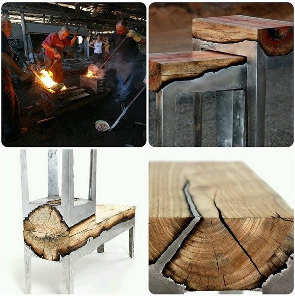 molten metal poured over wood. .. Teehee, reinforced wood. molten metal poured over wood Teehee reinforced