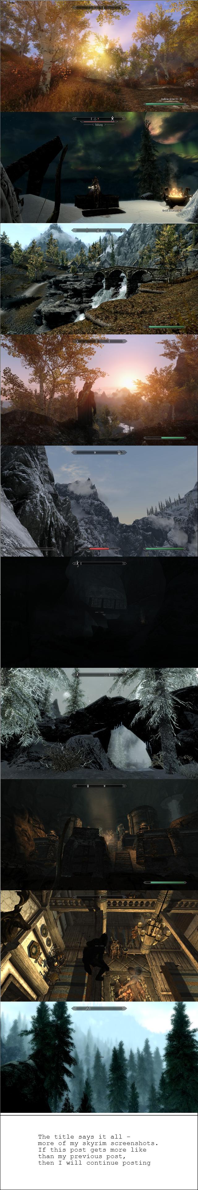 More modded Skyrim screenshots. Part 2 of my collection of Skyrim screenshots. I run quite alot of mods. Mod list: IncreasedGrassDensity StaticMeshImprovement S Skyrim Modded Sc