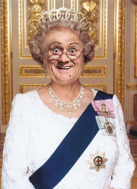 Queen Mrs Brown of England. He he he, Mammy's the feckin' Queen!.. Mrs Brown is utter Mrs Brown Mrs Browns Boys bbc BBC1 TV queen Queen Elizabeth Photoshop Faceswap face swap