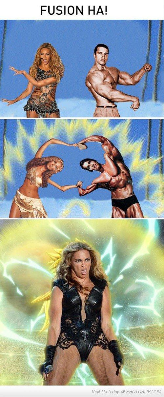 Unlimited Powaaah!!!!!. CHAARGEEE. FUSION HA!. BEYONCE + SCHWARZENEGGER = power unlimited it is