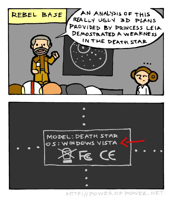 "(untitled). Via powerofpower.net. Builts!! bilall A w . DEATH ti;"" riite.. Just wait it out and it'll crash. Death Star star wars Windows"