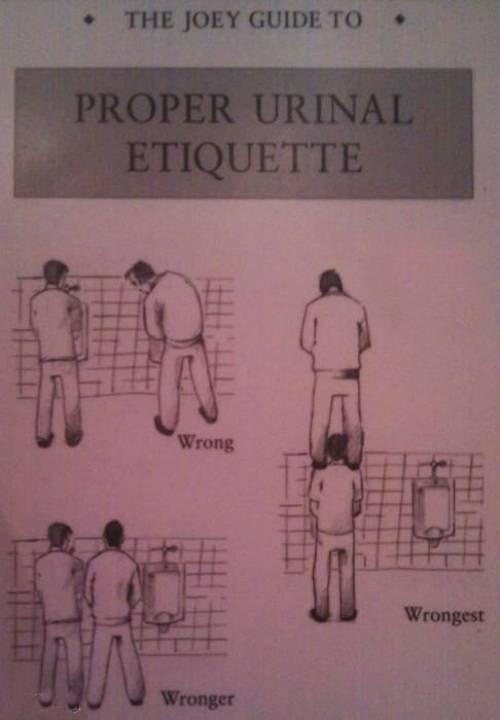 Urinal Etiquette. . Urinal Etiquette