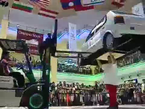 British man balances car on head.. .