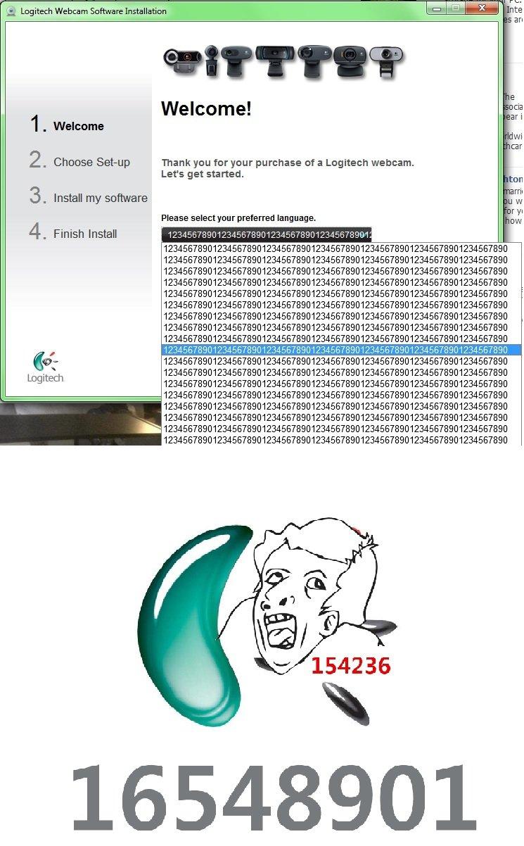 "16548901 pls. Yeah paint but Logitech pls. iit Logitech Webcam Software - "". Welcome! lei.: A EH 1 "" Welcome 2 . Choose Settup Thank you for purchase Inf a Logi logitech pls enr"