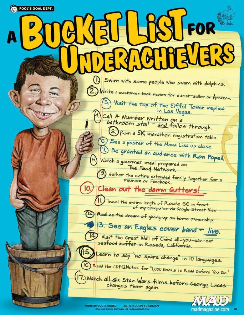 A bucketlist for underachievers. A bucketlist for underachievers. MIN ( cg Cars bucket list bucket list underachievers lazy People