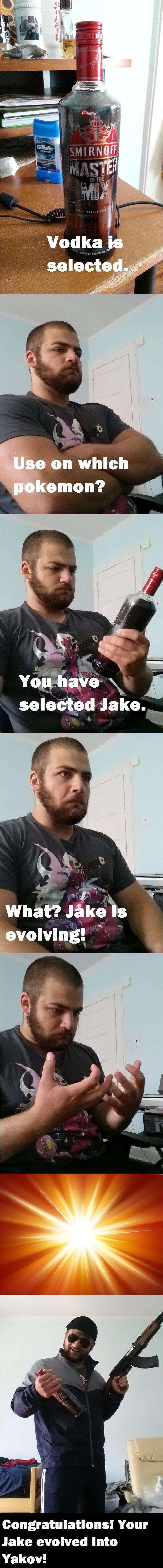 A Nu. cheeki breeki OC by me. I have no idea why I made this.. evolving! _ congratulations! Your Jake evolved into Yakov!. i have no idea why would anyone laugh to this i v damki