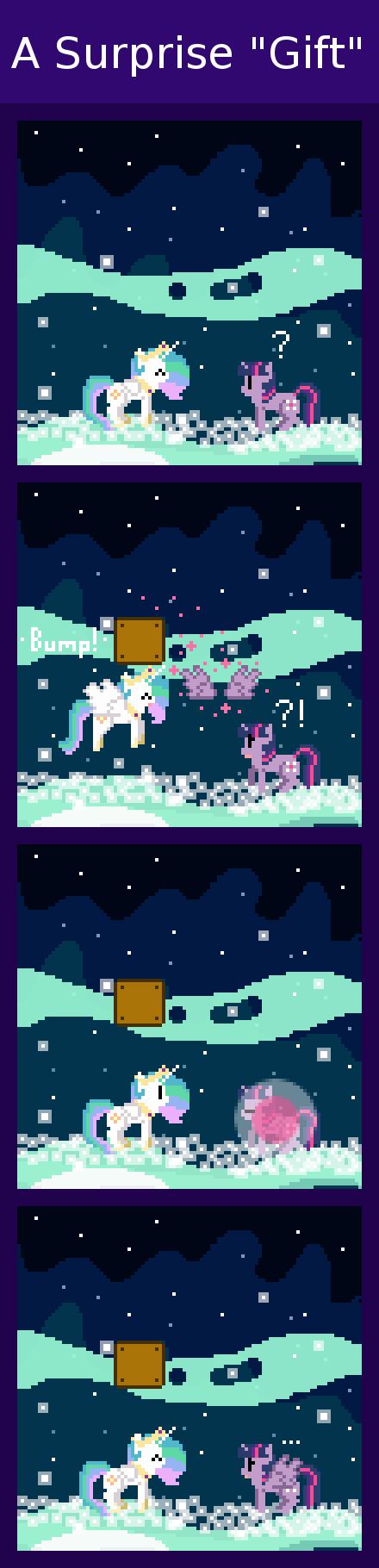 "A Surprise -Gift-. via zztfox.deviantart.com/art/A-Surprise-... Celestia ""gifts"" Twilight with wings from a certain ""Super"" dimension. An al My Little Pony Pinkie retro pony pixel Mario Nintendo comic twilight sparkle Princess Celesti"