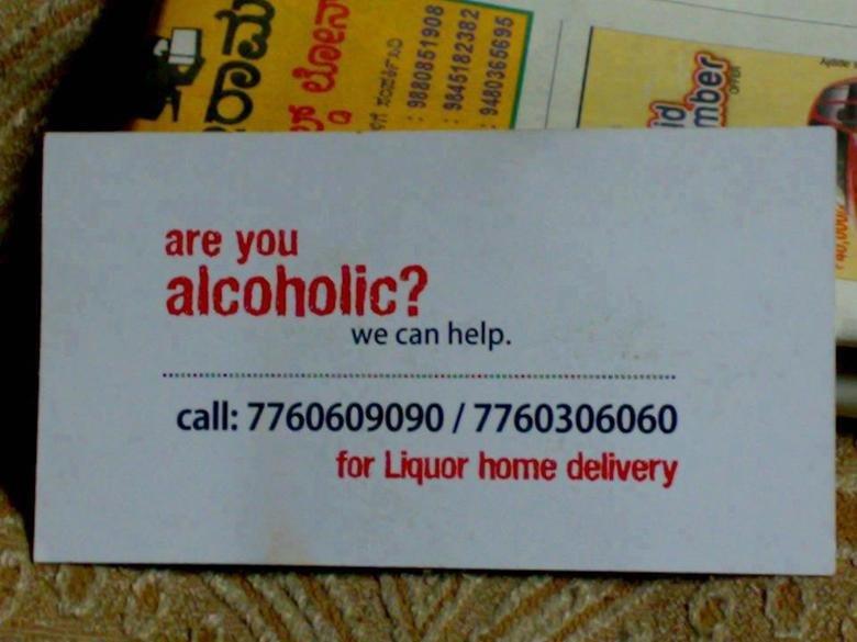 AA. . are YOU _ ii alcoholic? we can help. call: 7760609090 I 7760306060 for Liquor home delivery jesco aint no fu