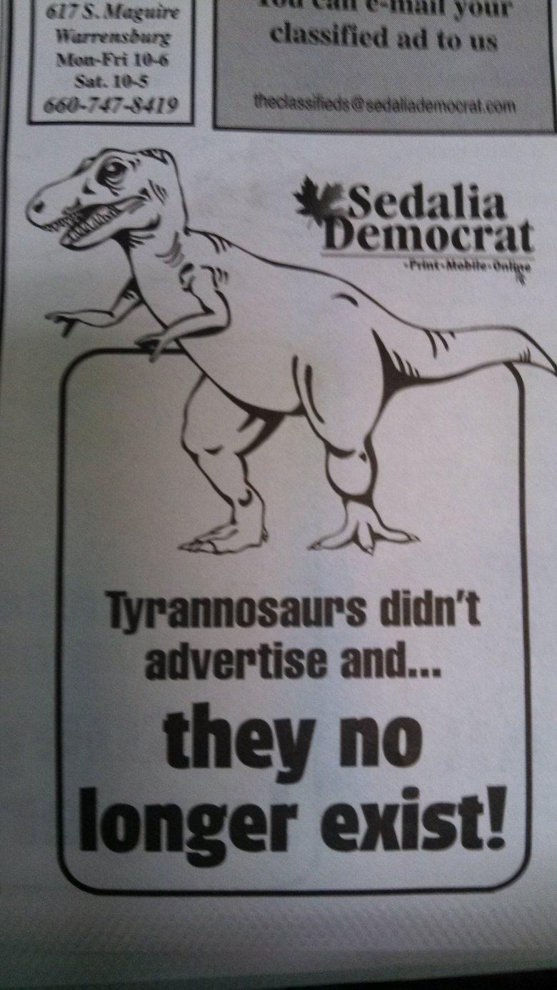 Advertising. Atheists: 0 Christians: 0 Newspapers: 1. God Damn dinosaurs