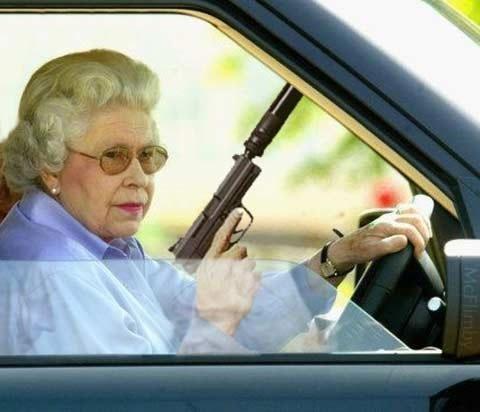 agent granny. owned.. Go get'him....get the motha .... granny agent car funny gun piste