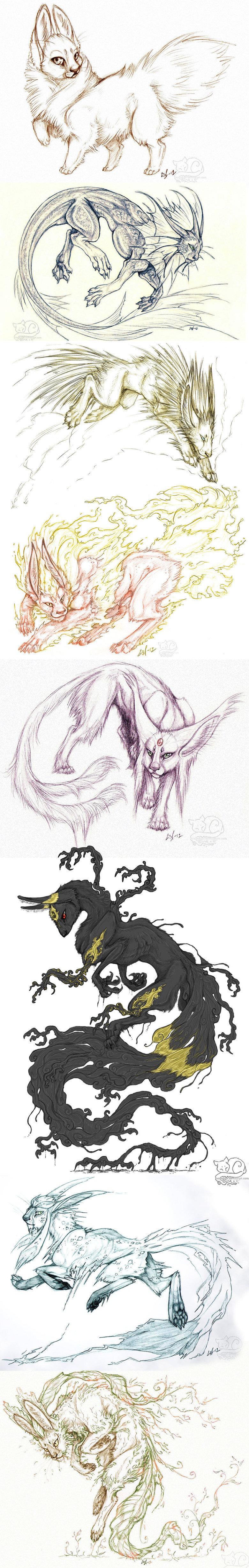 Alternate Eevee Art!. by Vattukatt on DevArt.. Most of these aare feline-like.... Ive always imagined evve-lutions to have a fox-ish quality to them. Eeveelutions