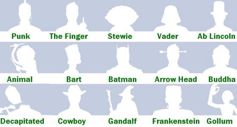 Alternative Facebook Default Pics. These are coooool. Punk The Finger Stewie Vader Ab Lincoln Batman Arrow Head Buddha Decapitated Cowboy Frankenstein Gollum. lol....Ab. facebook default