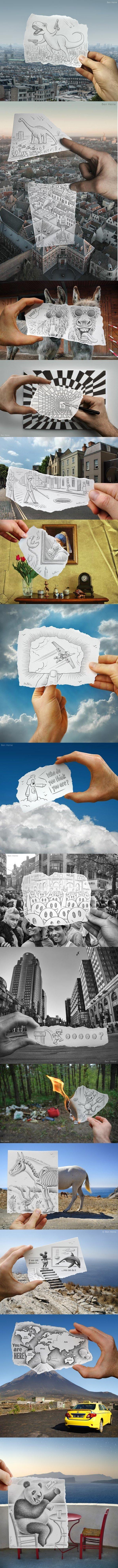 Amazing Drawing vs Photographs. stumbledupon credit to: Ben Heine Pt. 2?.. Epic. Art cool amazing