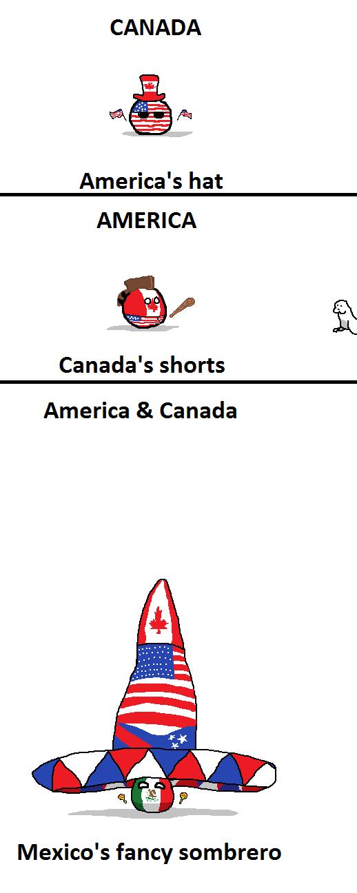 America's Hat. r/polandball (SirDerpOfCamelot) reddit.com/r/polandball/comments/1xy6te/clothing/. CANADA America' s hat AMERICA Canada' s shorts America 8: Cana hat pants Polandball