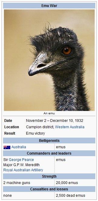 And yet they won.. . Emu War Location Campion district, Western Australia Result Emu victory 1 Australia , eneus leaders Pearce Geneus Majora. P. W. Meredith 2  eMU War ftw australia
