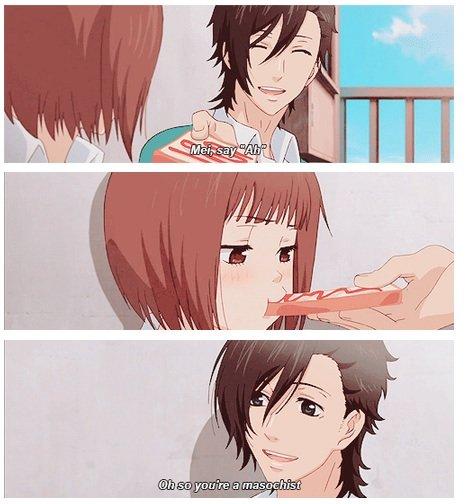 Anime logic. Every time I bite toast someone calls me a masochist. Source: Suki-tte Ii na yo... Is this from something? Like anime, manga or web comics. Anime