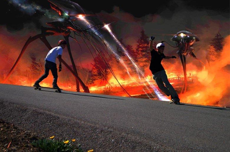 Apocalypse finally hit California. Props to my friend luke for still skating despite the apocalypse.. Not giving a fuck