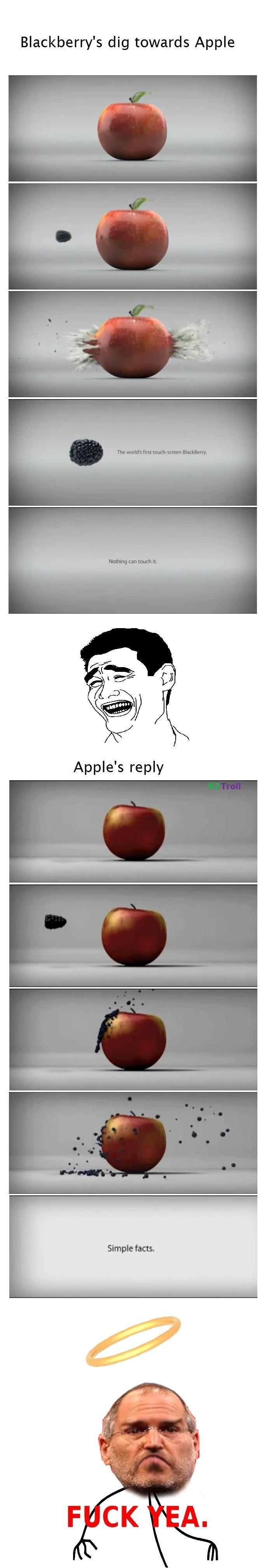 Apple vs Blackberry. .. divided in business.....united in pies. Apple blackberry