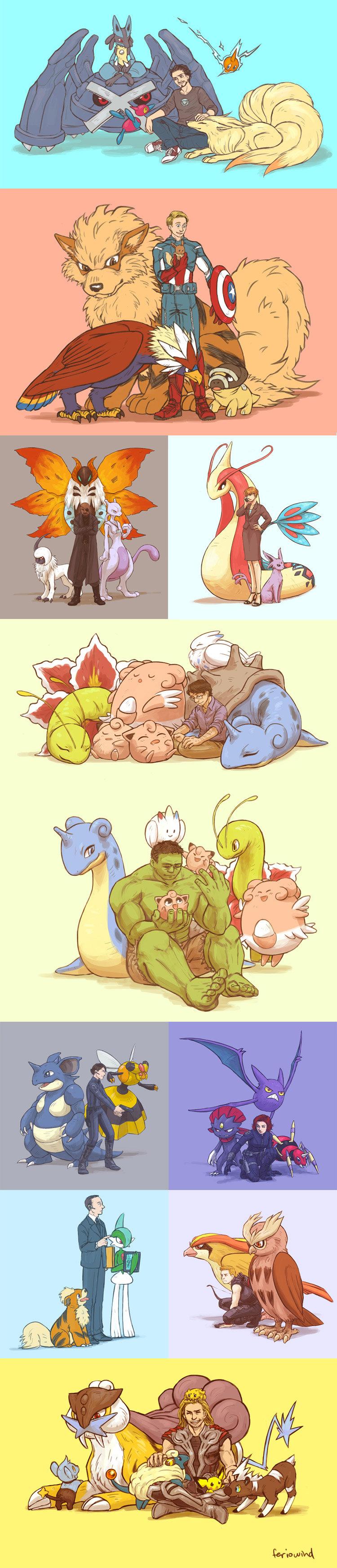 Avengers' Pokémon Assemble!. source: feriowind.deviantart.com/gallery/3800.... Pokemon avengers