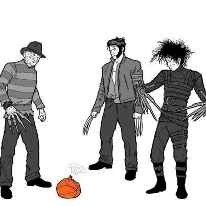 aw man our ball.... it popped.. freddy krueger Wolverine edward scissor h