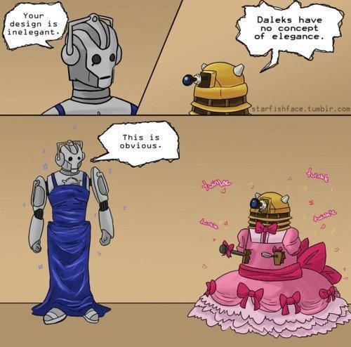 daleks and elegance. wibbley wobbley timey wimey. Thur design is inelegant- Daleks have nu concept of elegance. Doctor Who elegance Dalek cybermen