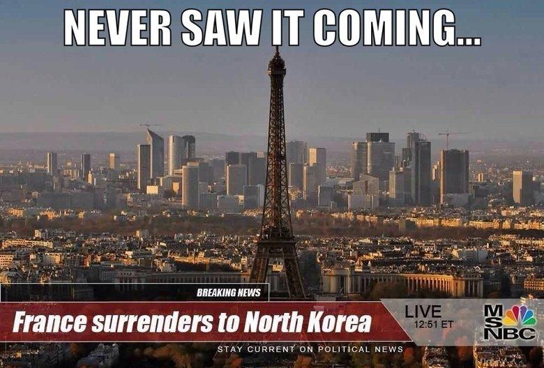 Damn it, France.... . NEVER SIM IT COMING... France surrenders% to HEW STAY CURRENT' ON POLITICAL l . J france surrender