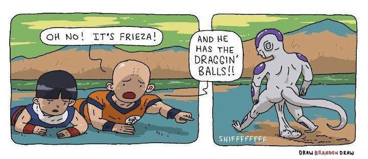 "Draggin Ballz. . UH MCI! IT' S FRIEGHT ""MD. HE DRACEON'. It's true. He is real super sand lesbian... dragon Balls"