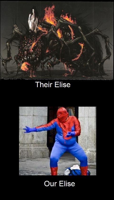 Elise. oc donut steel. Their' Elise Our Elise. well your Elise looks really fed elise spider Spiderman